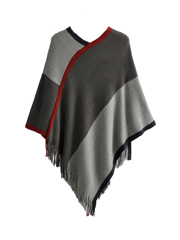 'Yumi' Tonal Tassel Cape Sweater (3 Colors)