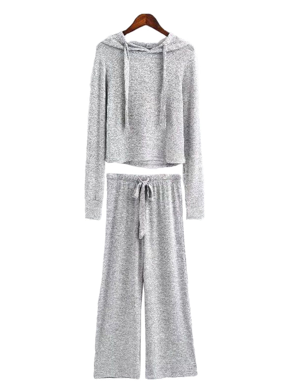 'Vania' Cropped Hoodie and Bottoms Loungewear Set (4 Colors)