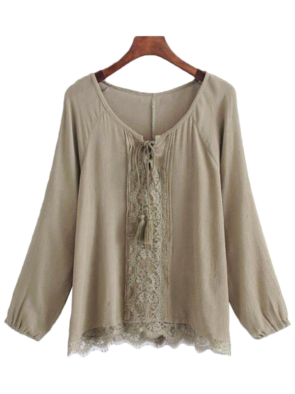 'Ertha' Lace Pleated Tassel Top (2 Colors)