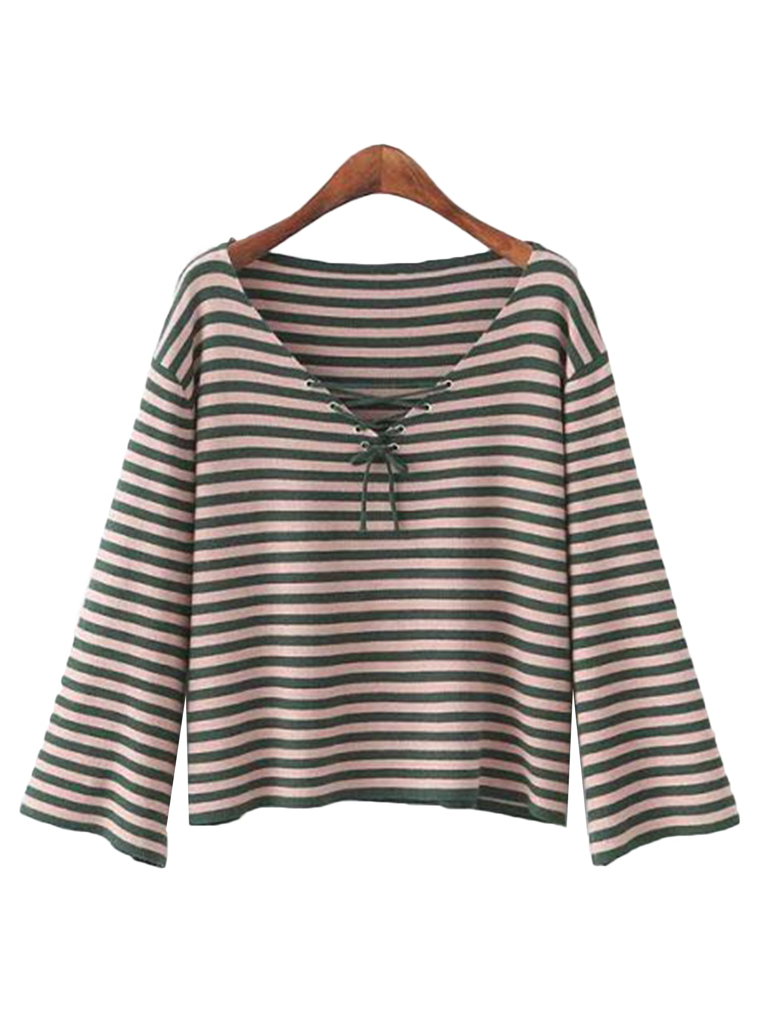 'Teressa' Striped Lace-up Sweater (2 Colors)