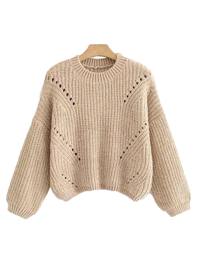 'Vikki' Crop Chenille Eyelet Sweater (3 Colors)