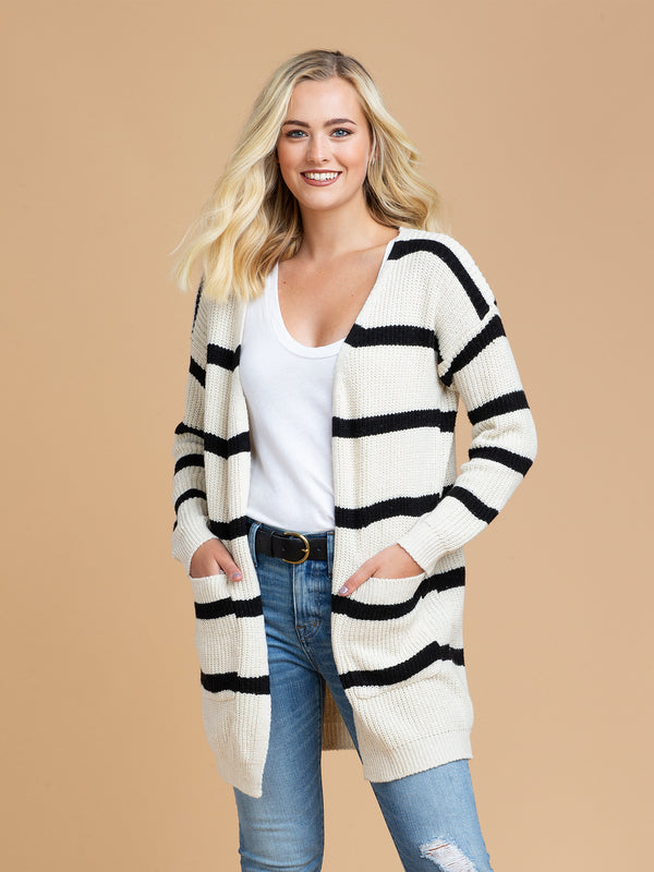 Goodnight Macaroon 'Helina' Striped Wrap Around Cardigan Model Half Body Front