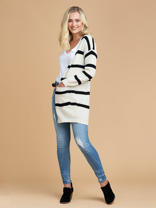 Goodnight Macaroon 'Helina' Striped Wrap Around Cardigan Model Full Body Front