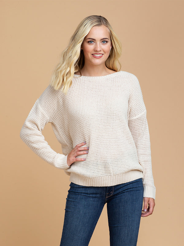 Goodnight Macaroon 'Katy' Wrapped Criss Cross Strap Knitted Sweater Model Half Body Front