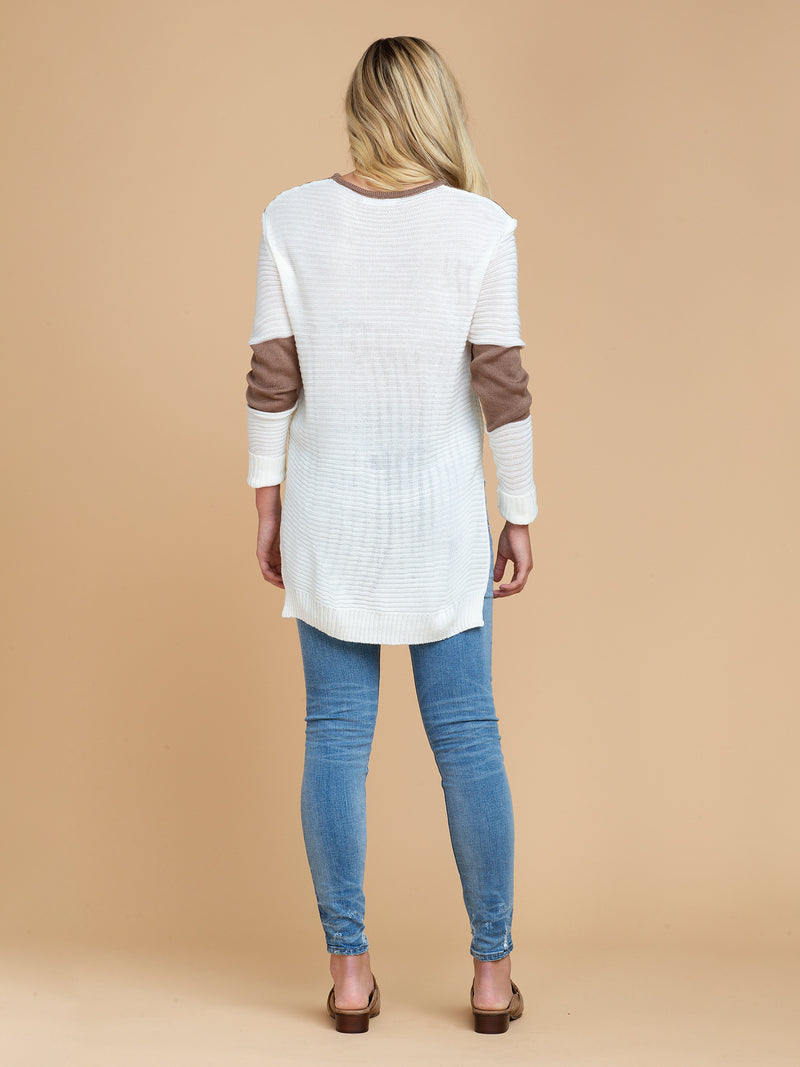 Goodnight Macaroon 'Gabi' Two Tone Color Block Sweater Model Full Body Back