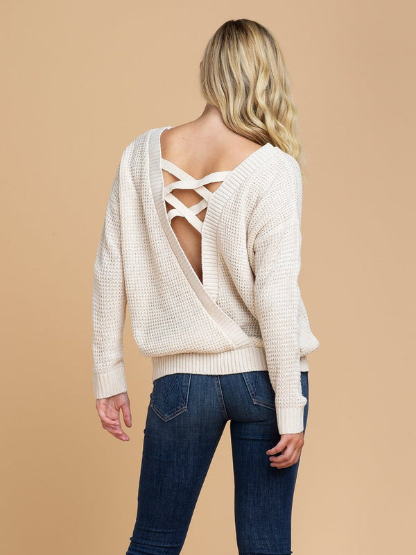 Goodnight Macaroon 'Katy' Wrapped Criss Cross Strap Knitted Sweater Model Half Body Back