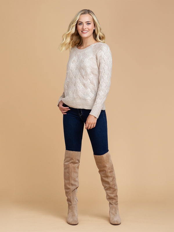 Goodnight Macaroon 'Perrie' Braided Knit Crew Neck Sweater Model Full Body Front