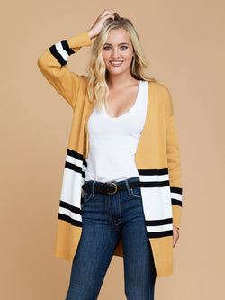 Goodnight Macaroon 'Linda' Yellow Color Block Open Cardigan Model Half Body Front