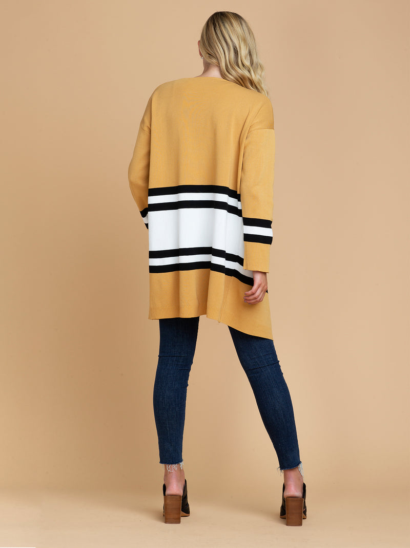 Goodnight Macaroon 'Linda' Yellow Color Block Open Cardigan Model Full Body Back
