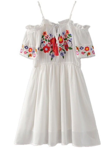 'Sylvie' Off Shoulder Embroidered Flare Dress