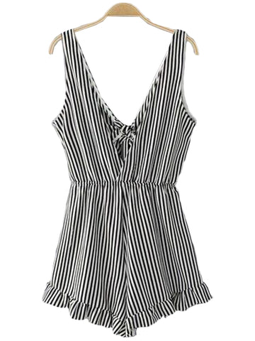'Louise' Back Bow Striped Frilly Hem Romper