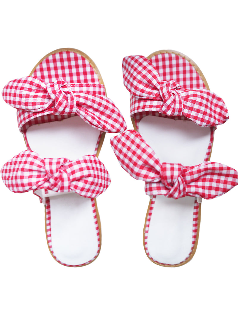 'Pauletta' Plaid Double Bow Sandals