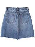 'Jalyn' Asymmetric Hem Denim Skirt