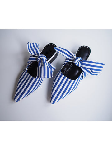 'Vicky' Blue Stripe Pointed Knotted Sandals
