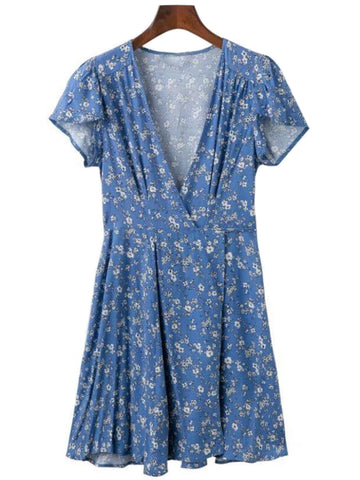 'Marinda' Floral V-neck Wrap Flare Dress