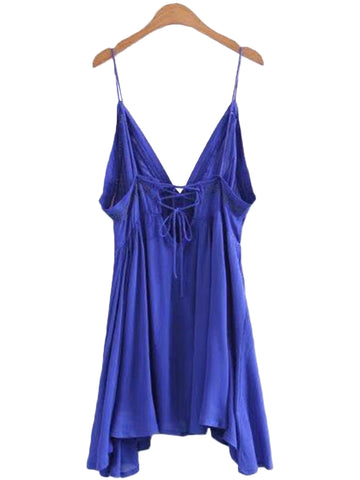 'Jina' Blue Lace Pleated Cami Peplum Dress