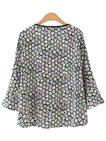 'Melody' Floral Wrap Flare Blouse