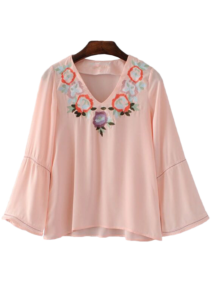 'Nia' Pink Embroidered V-neck Flare Top