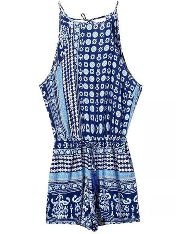 'Nicolle' Blue Pattern Back Tied Tassels Romper