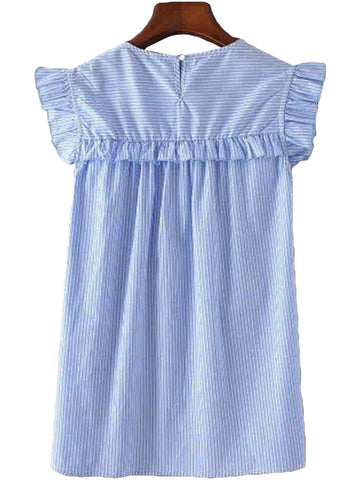 'Nova' Striped Frilly Sleeve Dress