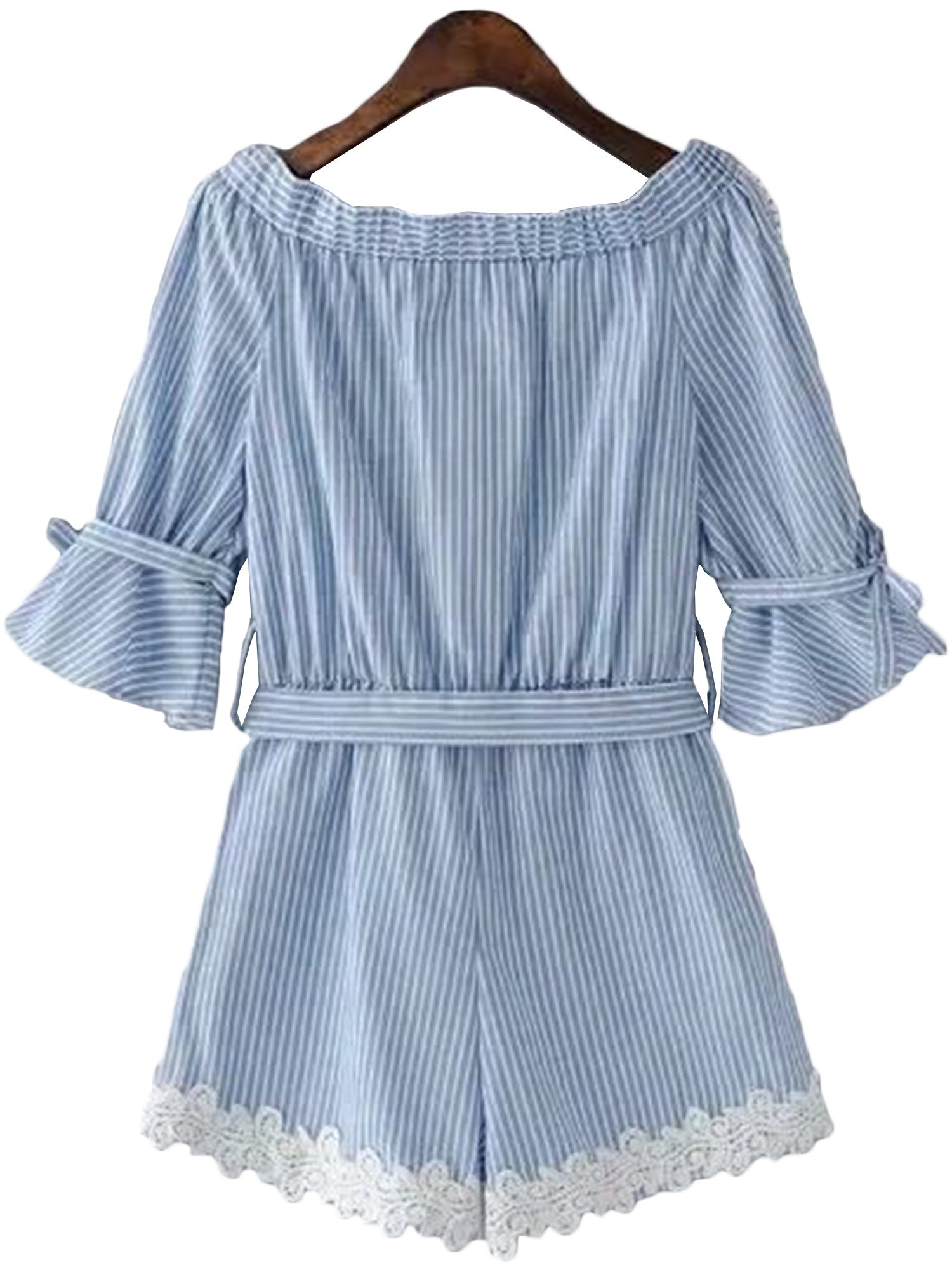 'Petrina' Striped Lace Pleated Off Shoulder Romper