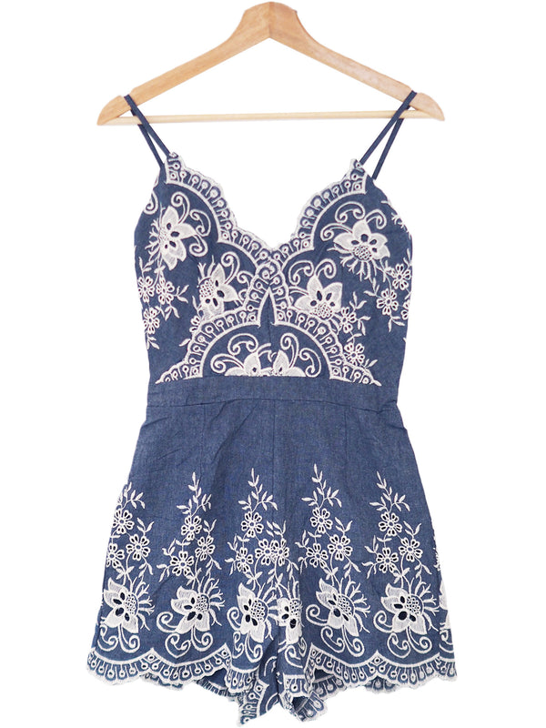 'Rosio' Lace Pleated Chambray Cami Romper