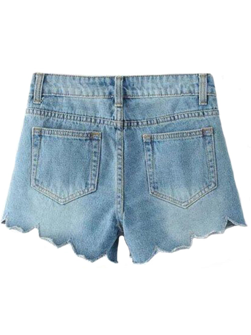 'Genie' Scallop Hem Denim Shorts