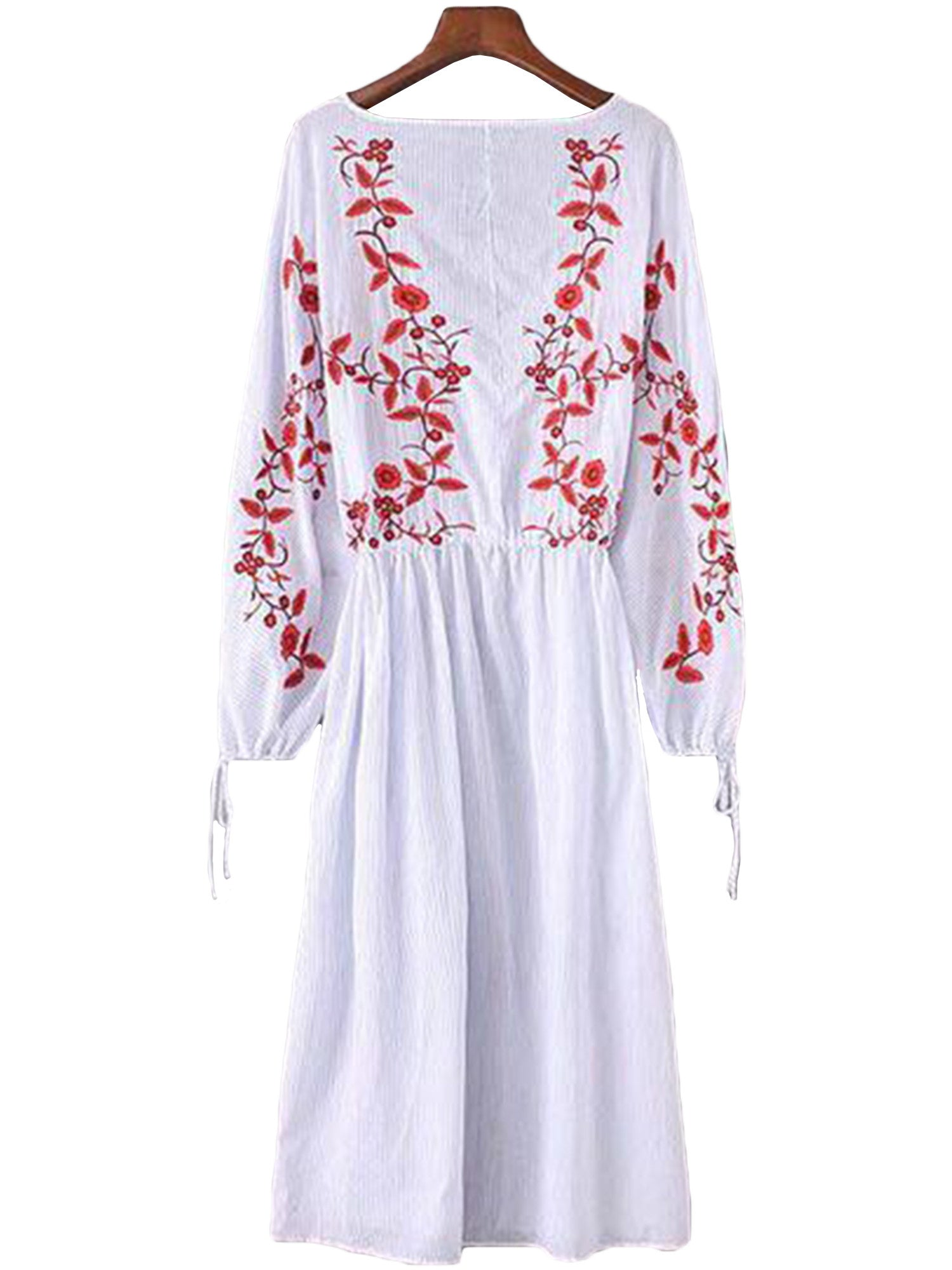 'Joy' V-neck Embroidered Tassels Beach Cover Up Dress