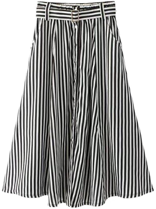 'Florrie' Striped Flare Midi Skirt