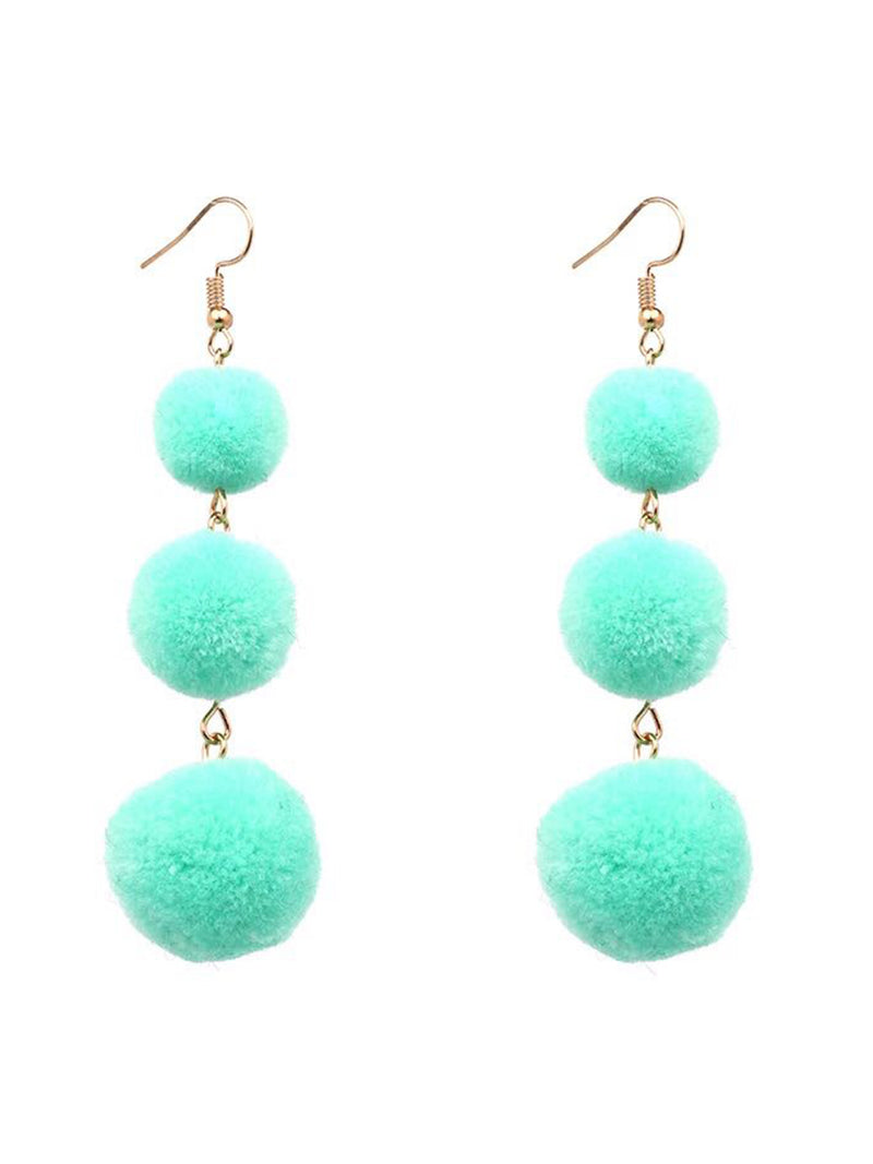 'Pilar' Line Up Pom Pom Earrings