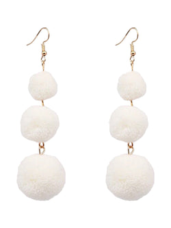 'Pilar' Triple Pom Pom Drop Earrings