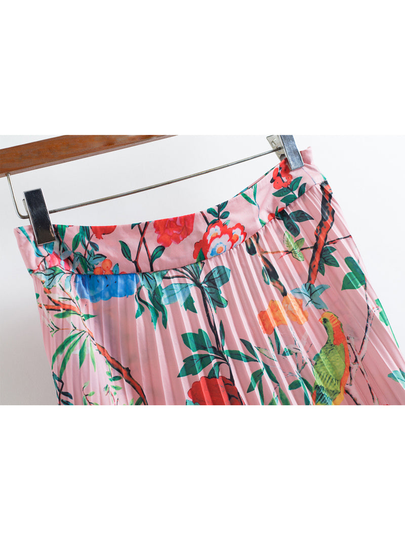 'Aline' Pink Floral Long Pleated Skirt