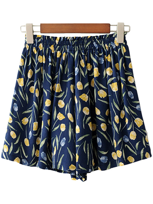 'Nikita' Navy Floral Casual Shorts