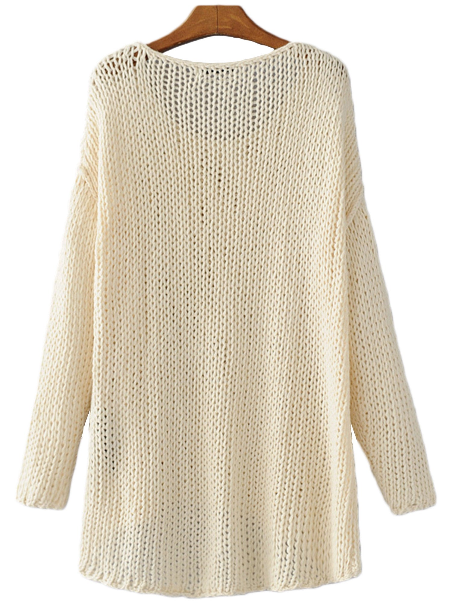 'Tegan' Ivory Long Sleeve Crewneck Sweater