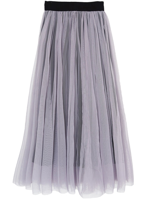 'Mel' Black Lined Tulle Midi / Maxi Skirt
