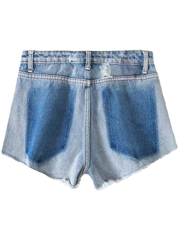 'Natalie' Washed Ripped Denim Shorts