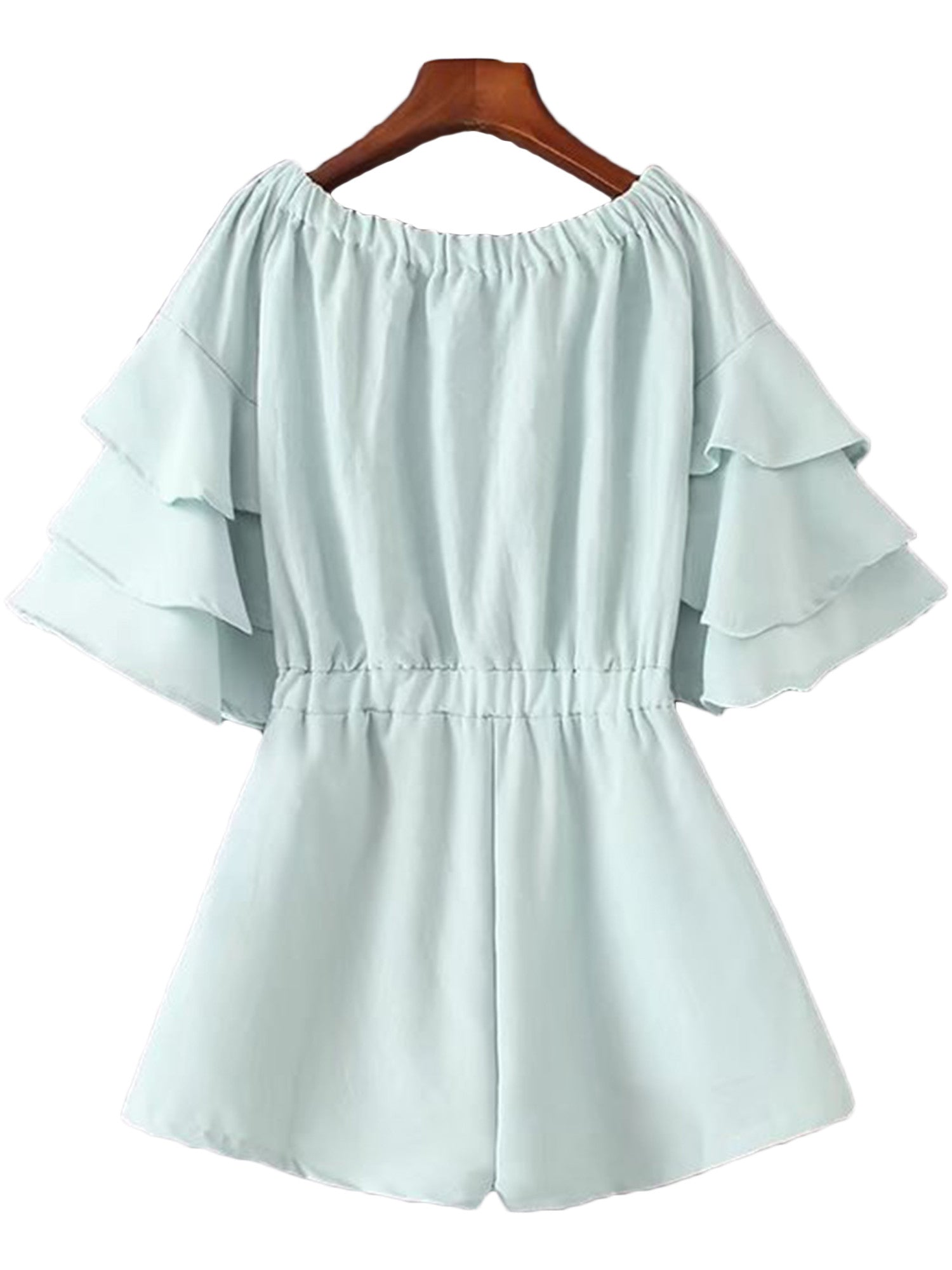 'Celena' Minty Ruffled Sleeve Off Shoulder Romper