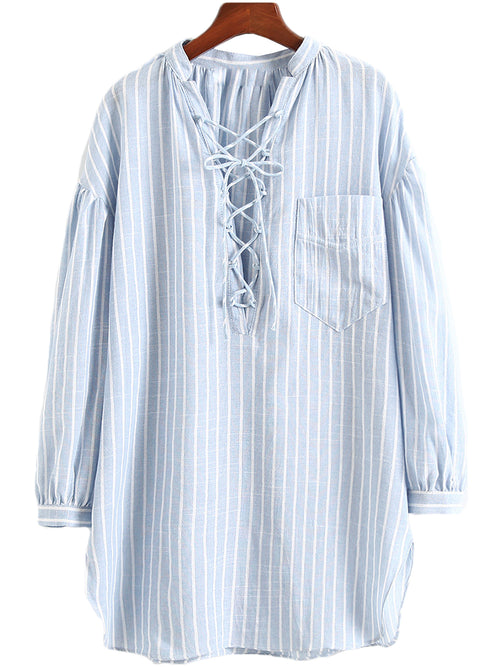'Ginette' Striped Criss Cross Linen Shirt Dress