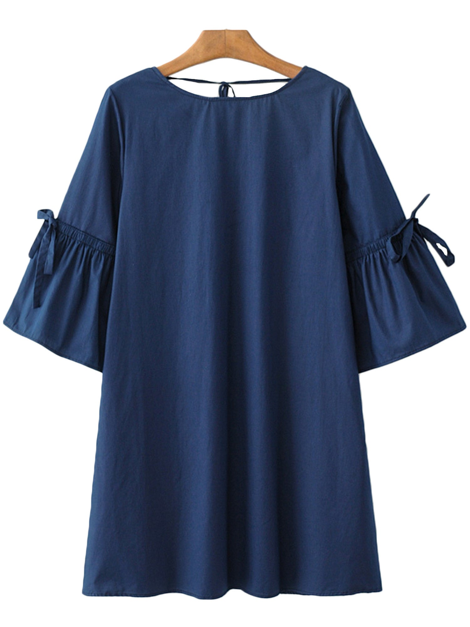 'Etha' Drawstring Fluted Sleeve Dress