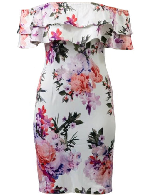 'Tessa' Off Shoulder Ruffle Floral Bodycon Dress