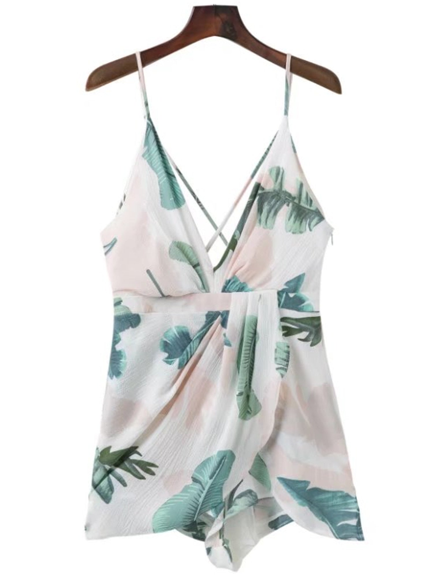 'Gina' Palm Print Cross Cami Romper