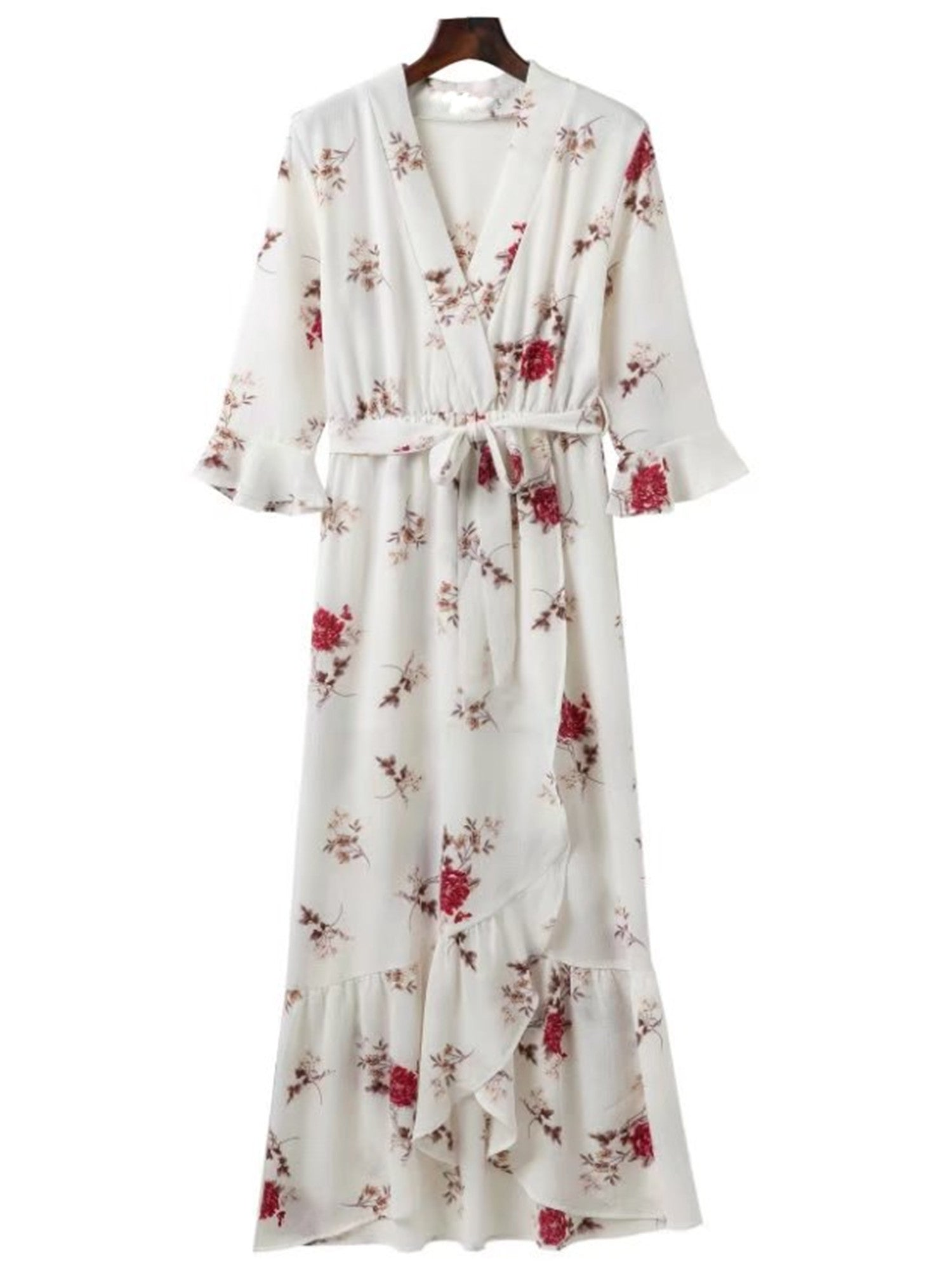 'Gale' Floral Wrap Tied Maxi Dress