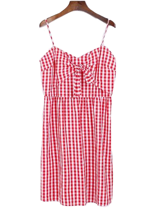 'Yasmin' Red Gingham Bow Dress