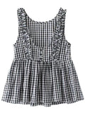 'Nora' Gingham Frill Peplum Sleeveless Top