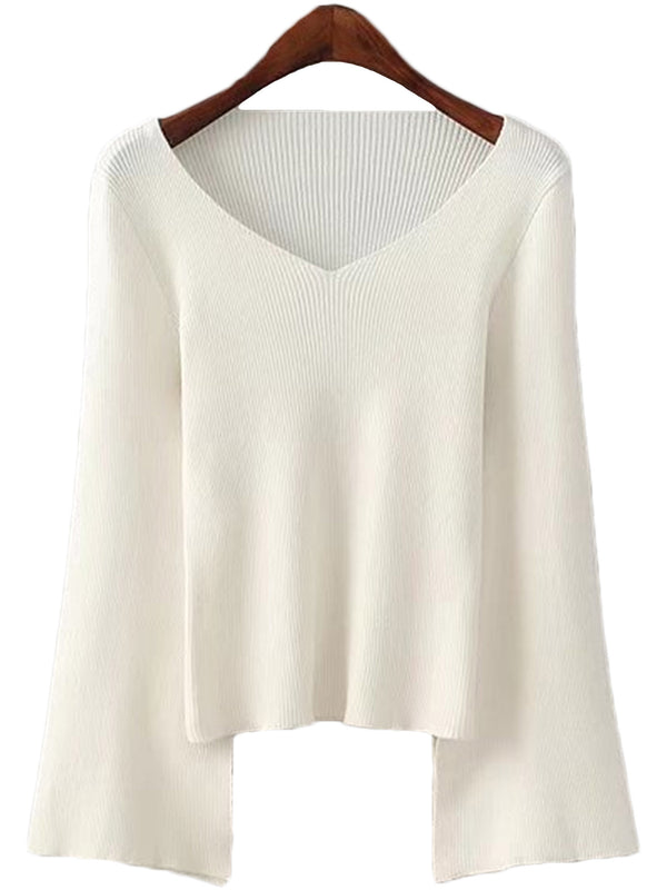 'Joya' V-neck Flare Knit Top (2 Colors Available)