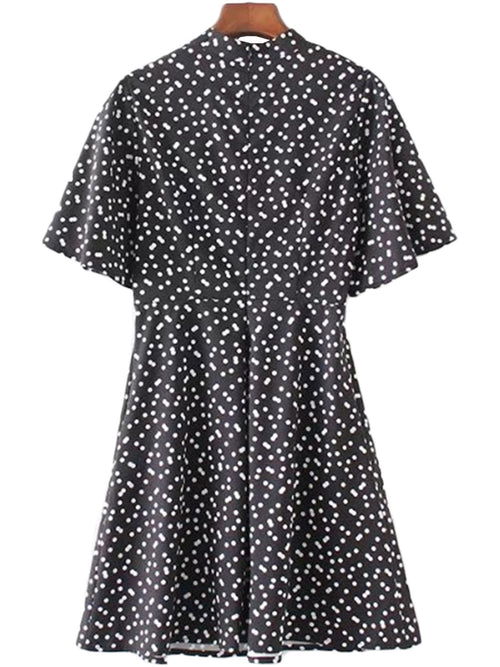 'Lanie' Polka Dot Crewneck Flare Dress