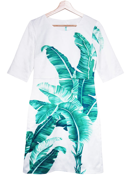 'Josefa' Palm Print Satin Tunic Dress