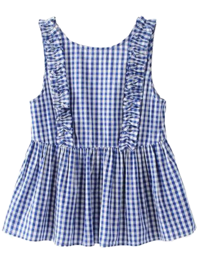 'Nora' Plaid Frilly Peplum Sleeveless Top