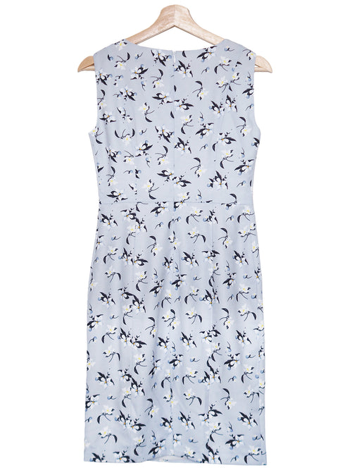 'Maple' Blue Floral Print Sleeveless Dress