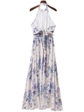 'Nancy' Floral Cut Out Shoulder Maxi Dress